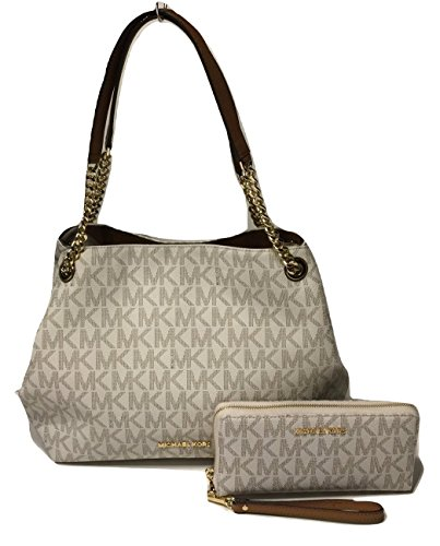6c883aac445b MICHAEL Michael Kors Jet Set Item Large Shoulder Tote bundled with Michael  Kors Jet Set Travel Continental Wallet Wristlet (Signature MK Vanilla Acorn)