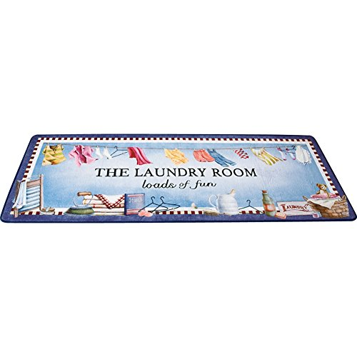 Collections Etc 'Loads of Fun' Laundry Room Mat Rug with Whimsical Laundry Room Design