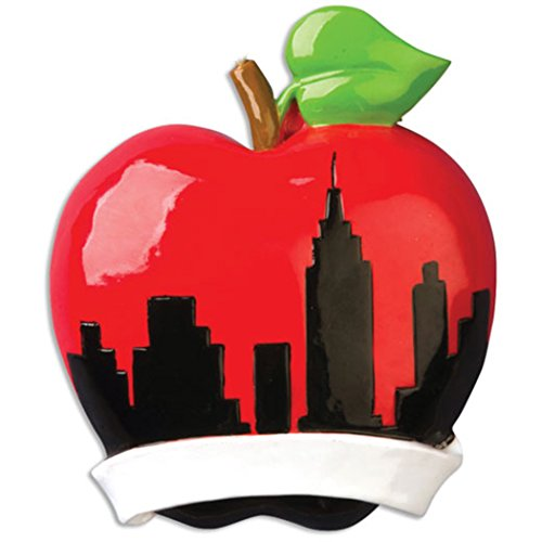 Personalized NY Christmas Ball City Tree Ornament 2019 - Red Apple New York Skyline with Ribbon Liberty Broadway Wall Street Holiday Travel Tourist Gift NYC Souvenirs Love Year - Free - Christmas Personalized Balls