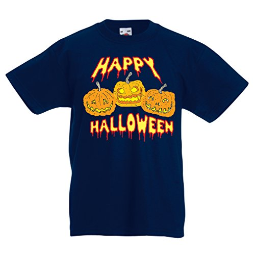 T Shirts for Kids Happy Halloween! Party Outfits & Costume - Gift Idea (9-11 Years Dark Blue Multi -