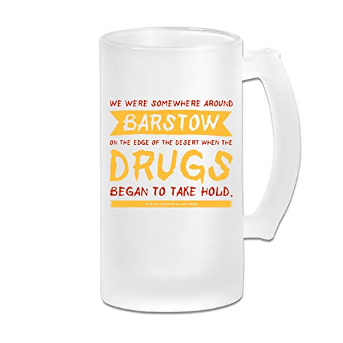Printed 16oz Frosted Glass Beer Stein Mug Cup - Fear And Loathing In Las Vegas Movie Opening Line - Graphic Mug