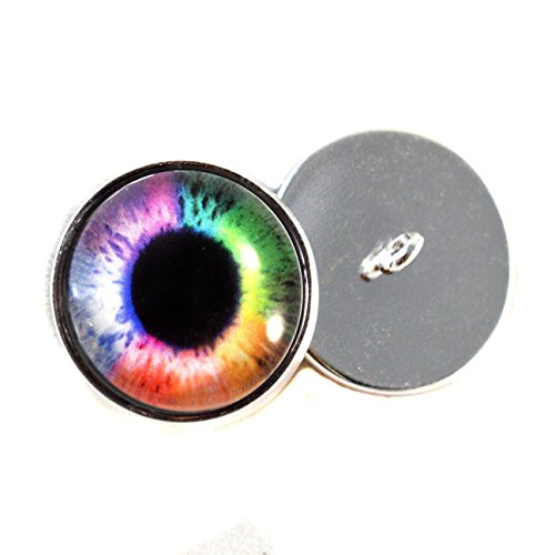 Rainbow Eyes With Sew In Loops 16mm Glass Eye Cabochons for Fantasy Art Doll Stuffed Animal Soft Sculptures or Jewelry Making Crafts Set of 2 -