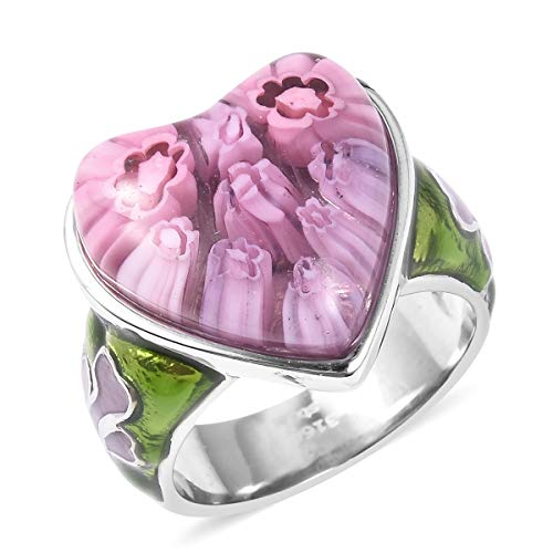 (Shop LC Delivering Joy Cocktail Ring Stainless Steel Heart Purple Color Murano Millefiori Glass Jewelry for Women Size 8)