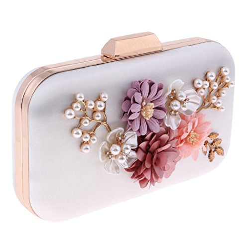 Party Flower D Women's Bag Purse Luxury DOLITY Evening as Bags Girls Handbag Wedding Small White white Satin Clutch described rPPXwt