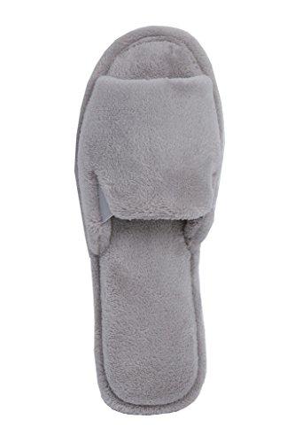 Beverly Rock Womens Soft Terry Spa Open Toe Slide Slipper Vintage Pewter 6wGHN