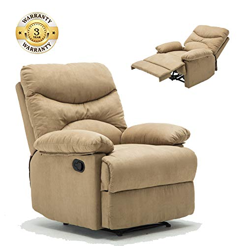 Windaze Recliner Chair, Massage Heat Lounge Manual Sofa Chair Microfiber Ergonomic for Living Room - Chair Microfiber Beige