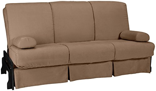 Bali Perfect Sit & Sleep Pocketed Coil Inner Spring Pillow Top Sofa Sleeper Bed, Queen-size, Black Arm Finish, Microfiber Suede Mocha Brown Upholstery