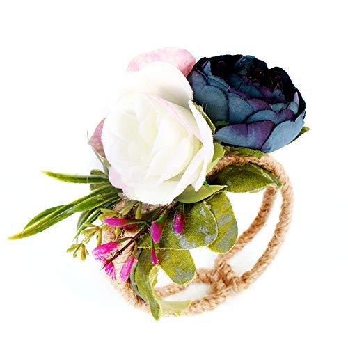 YuYe Rural Style Wrist Corsage Bracelet Wedding Party Bridesmaid Sisters Hand Flower - Navy Blue ()