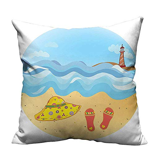 YouXianHome Lovely Cushion Covers Colorful Minimal Doodle Lighthouse Beach Sea Waves Sand Hat Slippers Clouds Bright Daytime Resists Stains(Double-Sided Printing) 26x26 inch ()