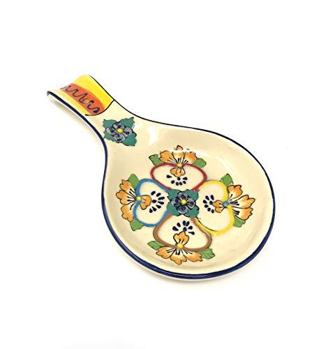 Mexican Talavera Ceramic Spoon Shaped Spoon Rest