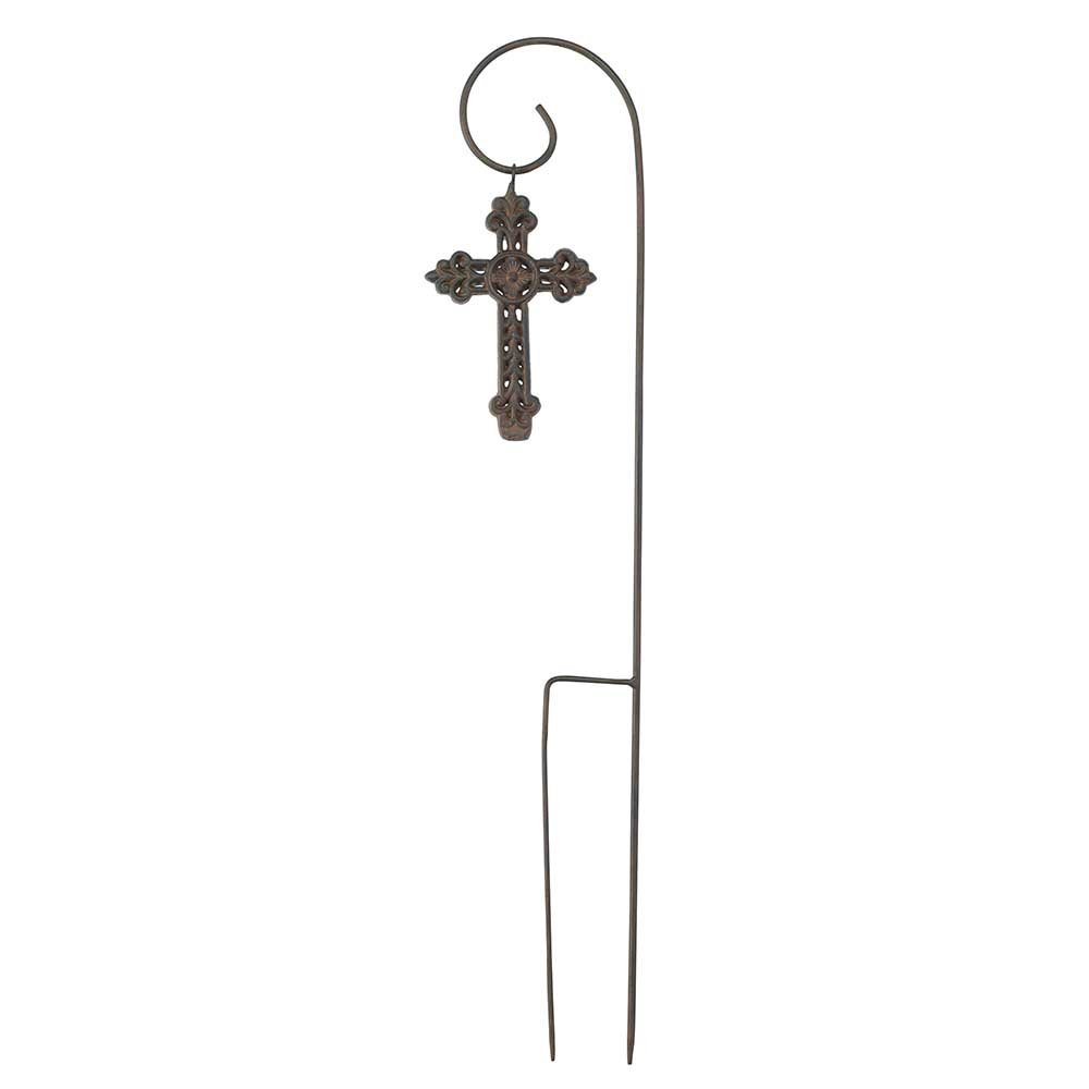 Black 27 Inch Spiral Garden Stake with Removable Filigree Rust Cross