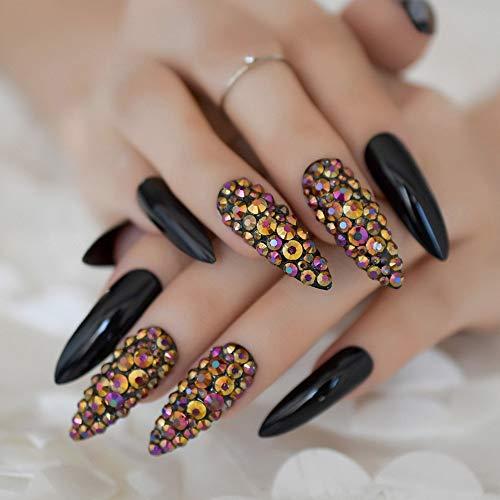 CoolNail Hot 24pcs/set Nail Long Sharp False Nail Dark Color Fake Nails Full Acrylic Artificial Nails Tips nep nagels L5011
