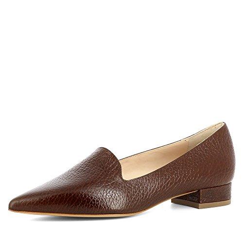 Evita Shoes Franca Damen Slipper Genarbtes Leder Braun
