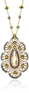Miguel Ases Ocean Pearl and Rose Gold Bead CZ Embroidered Pendant Necklace