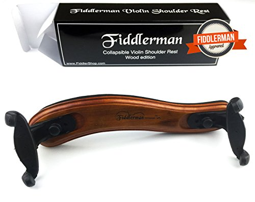 Fiddlerman Wood Violin Shoulder Rest for 4/4 and 3/4 with Collapsible and Height Adjustable Feet (Del Violin)