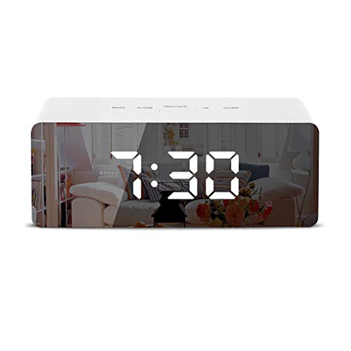 Shayson Digital Alarm Clock, LED Display Clock Best Makeup Bedroom Mirror Travel Alarm Office Bedroom Clock, Dual Alarm with Snooze, Dimmer Control, Support Battery Powered and with USB Port-White