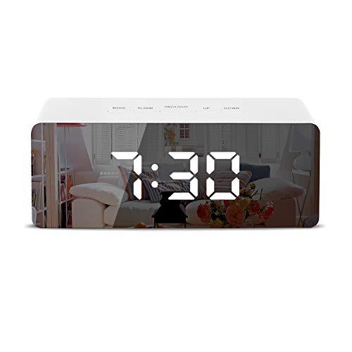 Shayson Digital Alarm Clock, LED Display Clock Best Makeup Bedroom Mirror Travel - Mirrors With Digital Bathroom Clock Led
