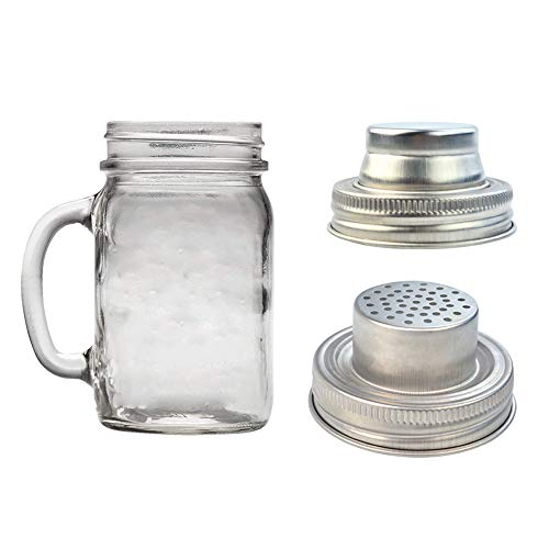 obmwang 4 Pack of Stainless Steel Mason Jar Shaker Lids Caps for Cocktail,Dredge Flour,Mix Spices,Sugar, Salt, Peppers and More or Shake Drinks Cocktail-Fits Any Regular Mouth Mason Jar Canning Jar by obmwang (Image #1)