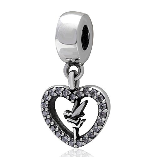 - Everbling Love Tinker Bell Dangle Heart with Clear Crystal 925 Sterling Silver Bead Fits European Charm Bracelet