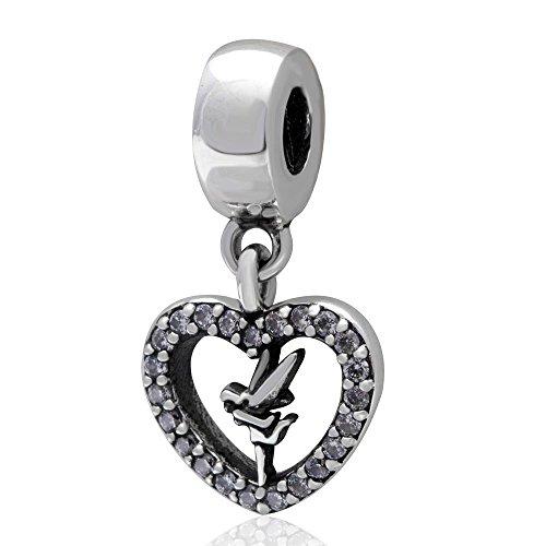 (Shengzu Beads Love Tinker Bell Dangle 925 Sterling Silver Heart Charm with Clear Zircon Stones for European Brand Bracelet)