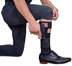 Don William Ankle holster for Concealed Carry with two strap design | Universal size holster & band | left and right hand draw