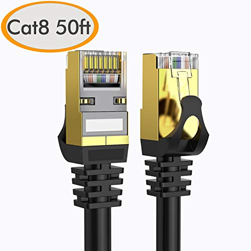 Cat 8 Ethernet Cable 50 ft Shielded, Internet Network Computer Patch Cord-Faster Than Cat5/Cat5e/cat6/cat7 Network, Durable Cat8 High Speed LAN Wire with Rj45 Connectors for Router, Modem-Black