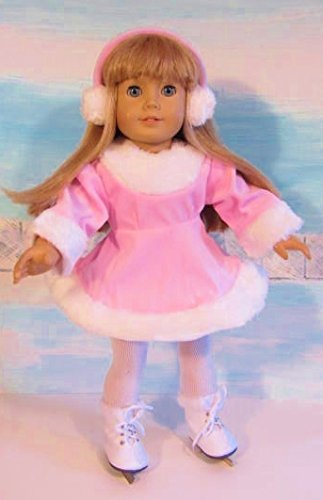 Pink Ice Skating Outfit Fits American Girl Doll, 18 Inch dolls INCLUDES White Ice Skates, Tights and Earmuffs !!