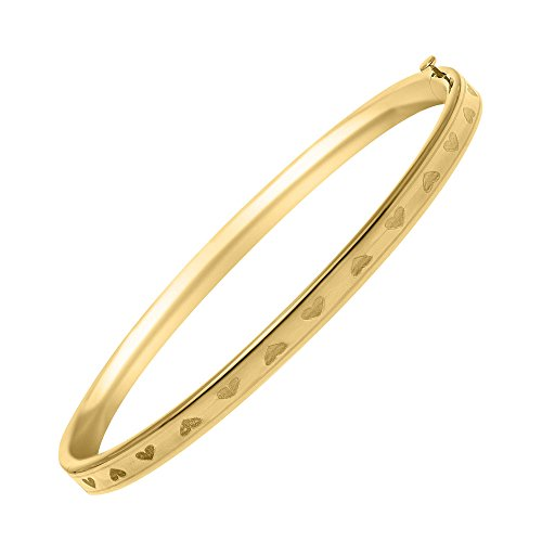 Toddler Jewelry - 14K Yellow Gold All Around Heart Bangle Bracelet For Girls by Loveivy