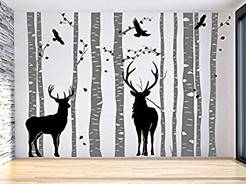Christmas Gift-Large Tree Wall Decal For Nursery-Family Birch Tree Decal- Gray Tree Wall Decal-Set Of 10 Tree Decal-Deer Tree Decal Forest
