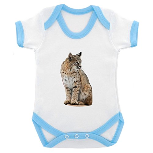 Bobcat Image Baby Bodysuit with Blue Contrast Trim & Black Print ()