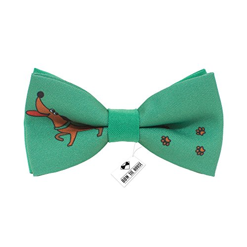 Dachshund pattern bow tie unisex pre-tied green color, by Bow Tie House