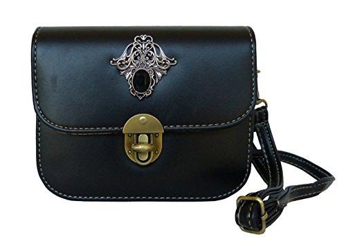 Trachtentasche Umhängetasche fürs Dirndl im Vintage Design - Antikstil Applikation (Schwarz (Ornament))