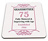 Grandmother 75th Birthday Established 1944 Year Novelty Glossy Mug Coaster - Pink