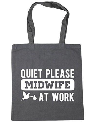 HippoWarehouse Silencioso por favor Matrona en el trabajo bolsa de la compra bolsa de playa 42cm x38cm, 10litros gris grafito