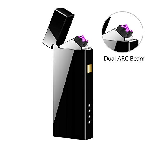 Humas Electric Lighter, Double Arc Electronic USB Rechargeable Lighter, Windproof Flameless Cigarette Lighter (Black)