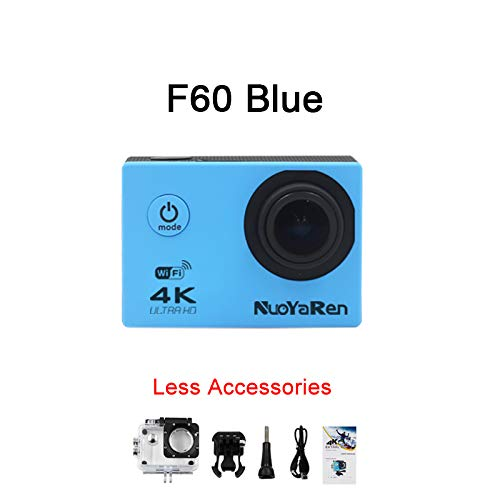 NUOYAREN Action Camera F60/F60R 4K/30fps 16MP WiFi 170D Helmet Cam go Underwater pro Waterproof Diving Sports Camera (Blue)