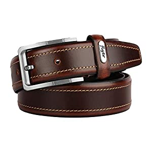 Flyer Men's Leather belt (Formal/Casual) (Colour – Brown) Buckle Adjustable Size Genuine Leather (B1512)