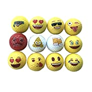 Lightahead 12 Emoji Golf Balls Gift Set,Fun Novelty,Practice Play Golf Balls Best Gift Family Friends