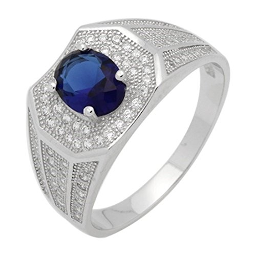 Halo Men Ring Oval Simulated Blue Sapphi - Mens Sterling Silver Swirl Shopping Results