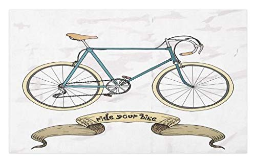 Lunarable Retro Doormat, Ride Your Bike Theme Hipster Handdrawn Bicycle and Ribbon Print, Decorative Polyester Floor Mat with Non-Skid Backing, 30 W X 18 L inches, Sand Brown and Petrol Blue
