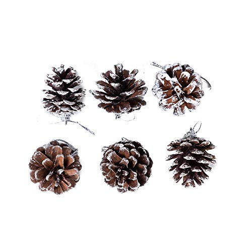 6 Pack Set Elegant Vintage Natural Brown Pine Cones Christmas Ornaments Decorations Faux Fake White Snow Xmas Tree Holiday Pinecone Decoration Accessories 1.75 Inches Each