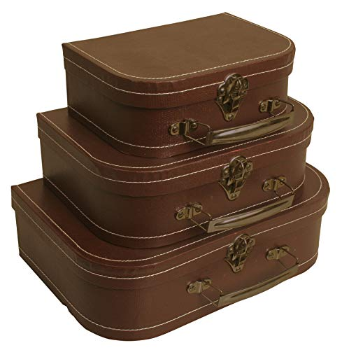 Wald Imports Brown Paperboard Decorative Storage Paperboard Suitcases, Set of ()