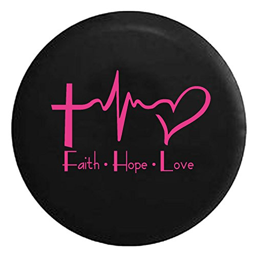 Faith Hope Love Cross Heart EKG Jesus Religious Spare Jeep Wrangler Camper SUV Tire Cover Pink Ink 32 in