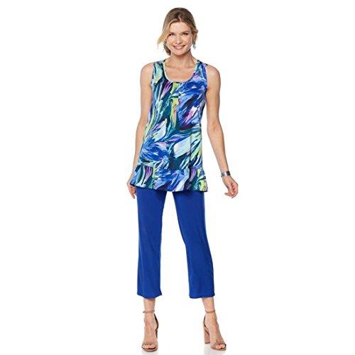 Slinky Brand Sleeveless Tunic Cropped Pant Set 2Pc Swirl Cobalt M New (Tunic & Cropped Pants Set)