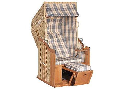 Sunny Smart Strandkorb Rustikal 250 Plus 1-Sitzer Stoff-Nr. 1205 Außenmaß (B x T): 90 x 90 cm Gesamthöhe: 160 cm Geflecht: Kunststoffgeflecht beige Ausführung: Halbliegemodell Stoff: Nr. 1205, hellblau-beige gestreift