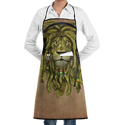 Rasta Lion Chefs Aprons Barbecue Aprons Skirt with Pockets