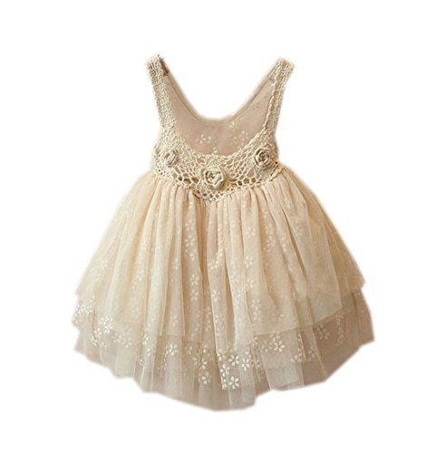 - Toddler Girl Beige Pageant Dress Crochet Multi-Layers Tulle Party Dress 3-4X