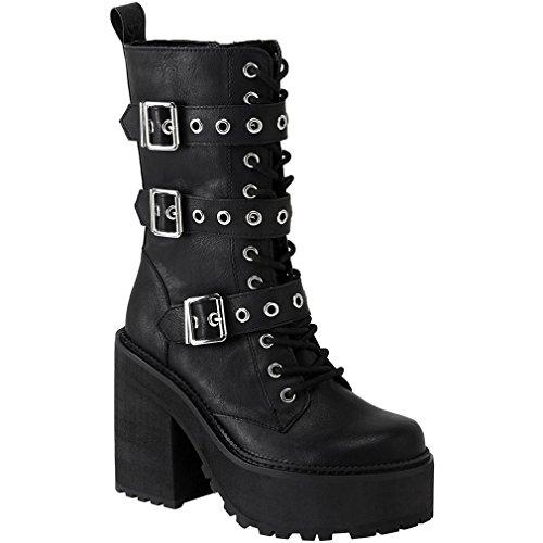 Killstar Plateaustiefel - Vendetta Platform Boots Schwarz