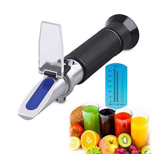 Brix Refractometer with ATC - Uglyfish Digital Handheld Refractometer for Homebrew Beer Wort Wine Fruit Sugar, Dual Scale-Specific Gravity 1.000-1.130 and Brix 0-32% (Black)