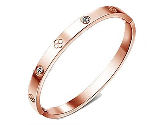 Findout 14K rose gold plated titanium diamond eternity ring Bracelets (f1393) (clover rose gold plated) by ()